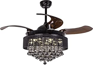 Parrot Uncle Ceiling Fans with Lights 46 Inch LED Ceiling Fan Retractable Blades Modern Crystal Chandelier Fan Black with Remote Control, Replaceable 4000K Cool White Lights, Not Dimmable