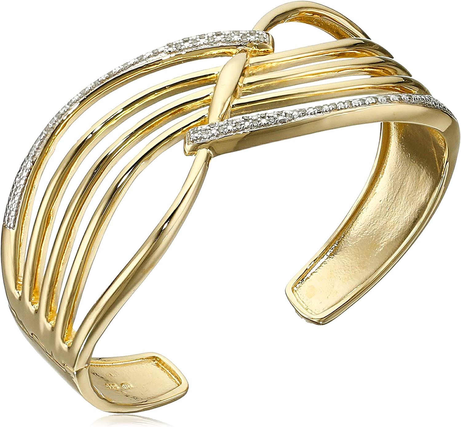 18k Yellow Gold Plated Sterling Silver Genuine Diamond Hinged Cu