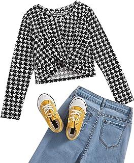 Romwe Girl's Cute Rib Knit Long Sleeve Twist Front Crew Neck Slim Fit Crop Tee Top Blouse