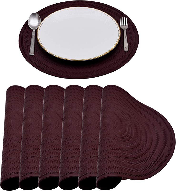 Decozen Aubergine Placemats For Dining Table 15 Inches Diameter Set Of 6 Pieces 100 PU Embossed Heat Resistant Scratch Proof Easy To Care Table Mats Kitchen And D Cor