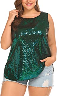 Women's Sequin Tops Plus Size Glitter Tank Top Sleeveless Sparkle Shimmer Shirt Tops Camisole Vest
