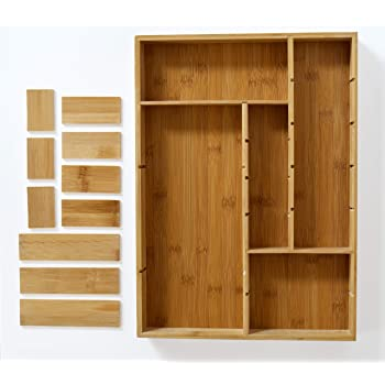 Organizador de Madera apilable para Guardar Cubiertos y Utensilios de Cocina Caja Rectangular Grande de bamb/ú Color Natural mDesign Juego de 4 Cajas organizadoras para la Cocina
