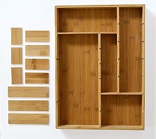 elbmöbel - Organizador para cubiertos (15 compartimentos, 32 x 44 x 5 cm, bambú)