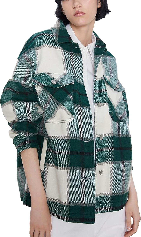Springrain Women's Casual Flannel Plaid Button Down Long Sleeve Shacket Jacket Coat