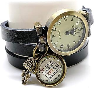 Orologio multi-fila cabochon cuoio- nero - Mary Poppins - Regalo di Natale per idea regalo moglie - San Valentino (ref.95b...