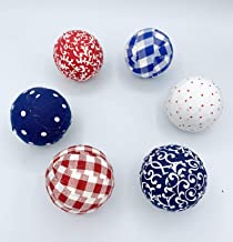 Patriotic Plaids and Polka Dots Fabric Wrapped Balls Orbs Set