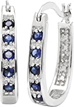 JewelExclusive Sterling Silver Round-Cut Diamond Accent (J-K Color, I2-I3 Clarity) Lab Created Blue Sapphire Hoop Earring