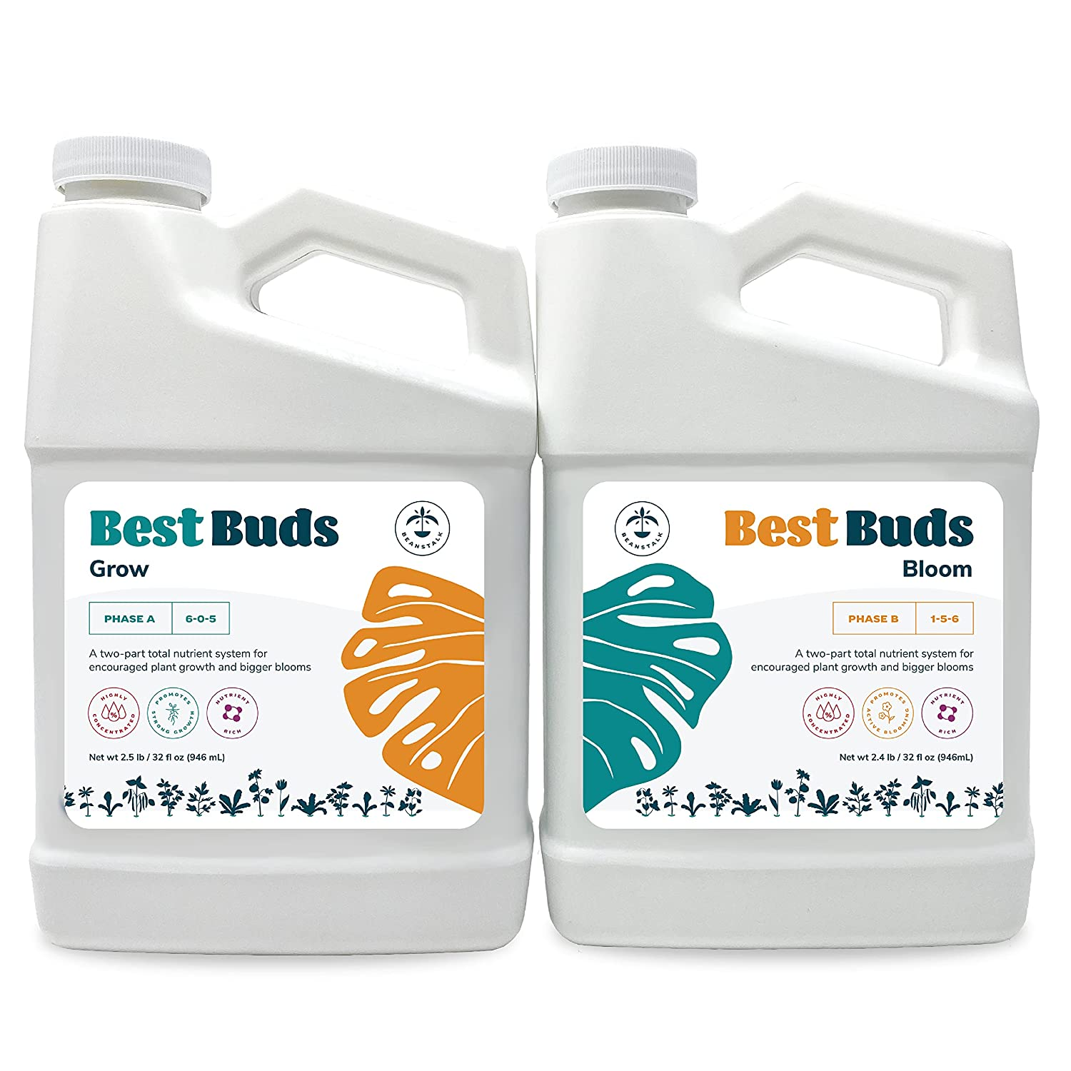 Hydroponic Nutrients - Best Buds Hydroponic Plant Food (Pack of 2- 36 oz Bottles) by Beanstalk, Nutrients for Hydroponic Plants, Hydroponic Garden Nutrients, Plant Nutrients