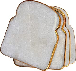 Ecstassy Handmade Bread Sliced shaped Marble Coasters| Drink Coaster For Hot and Cold | Carved Stone Coaster Set for Kitchen and Dining Table | Modern Cocktail Coasters | Set of 4