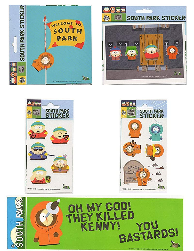 LOT 5 pcs Stickers decal South Park Kenny Stan Kyle Cartman Popular Characters