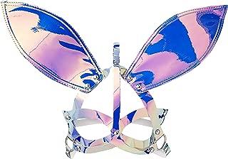 Leg Avenue Women's Holographic Vinyl Bunny Ear Mask, Holo, O/S