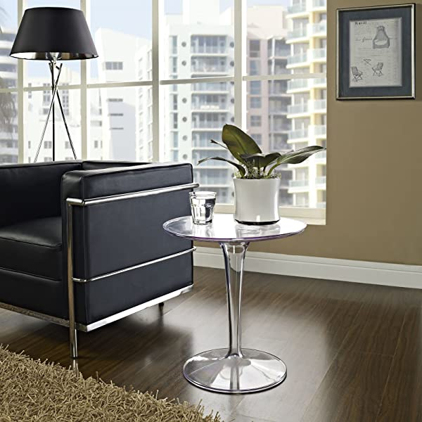 Modway Canvas Glass Top Side Table In Clear