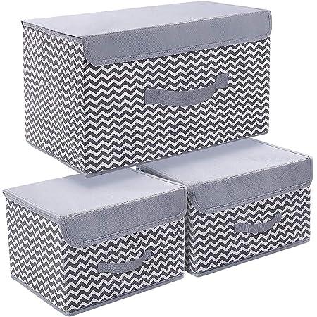 DIMJ Boîte de Rangement Tissu Pliable, Caisse de Rangement avec Couvercles pour Vêtements, Livres, Jouets, Bureau, Chambre à Coucher Lot de 3, Gris