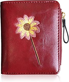 AOXONEL Womens RFID Small Compact Bifold Wallet,Cute Mini Zipper Card Coin Purse for Girls (Red)