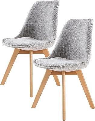 La Bella Replica Eames Fabric Padded Dining Chair - Grey X2