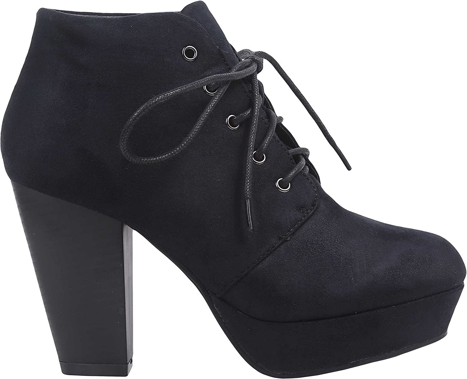 Bella Marie Women High Heel Ankle Boots Lace up Faux Suede