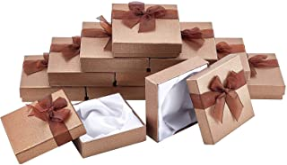 nbeads 約12個 ブレスレット ギフトボックス 紙製 リボン付 ラッピングボックス 包装 贈り物 シンプル 小物 ジュエリー収納 ミニギフト ウェディング パーティー 9x9x2.7cm パーティー キャメル