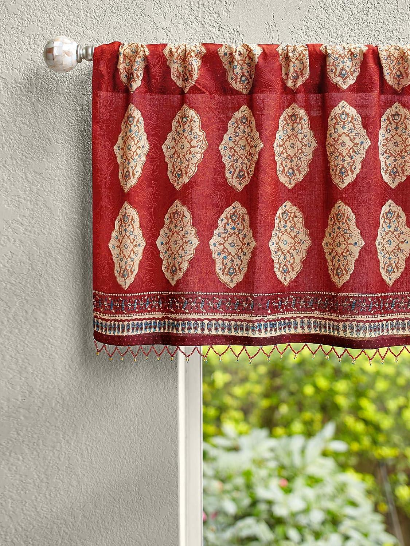 shop Saffron Marigold Red Orange Bargain sale Moroccan Bead Voile Valance Cotton