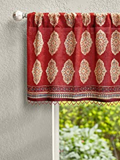 Saffron Marigold Red Orange Moroccan Valance   Cotton Voile Beaded Indian Spice Route Medallion Similar to Embroidered   Window Treatment Sheer Top Curtains   Curtain for Bathroom or Kitchen 46 x 17