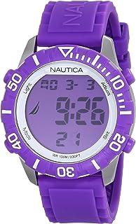 """Nautica Unisex N09931G""""NSR 100"""" Fashion Digital Watch with Purple Silicone Band"""