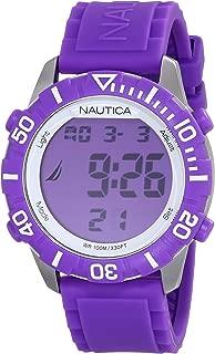 Nautica Unisex N09931G NSR 100 Fashion Digital Watch with Purple Silicone Band