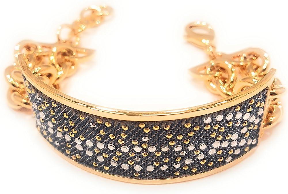 stroili bracciale per donna semirigido e catena con strass 01612549