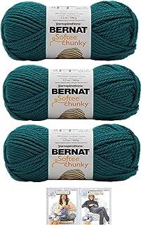 Bernat Softee Chunky Yarn Bundle Super Bulky Number 6 Gauge, 3 Skeins (Teal Waves)