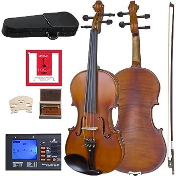 Cecilio CVA-500 Solidwood Ebony Fitted Viola with D'Addario Prelude Strings, Size 16-Inch