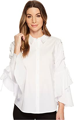 Lace-Up Ruffle Sleeve Button Down Shirt