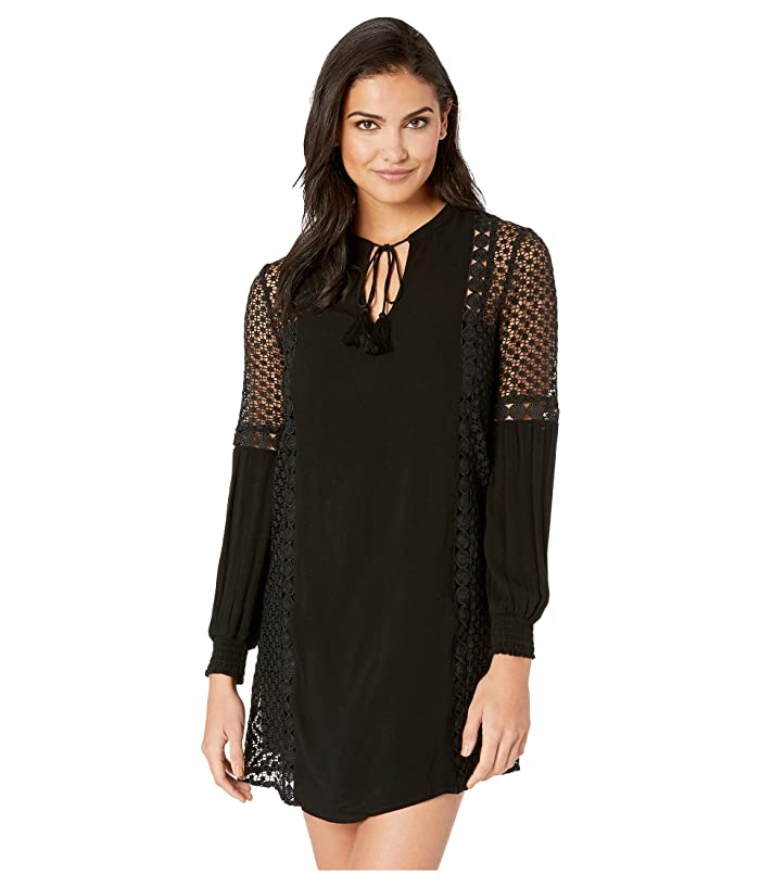 Jack by BB Dakota Date with Destiny Rayon Crepe Dress with Circular Lace Trim (Black) Women