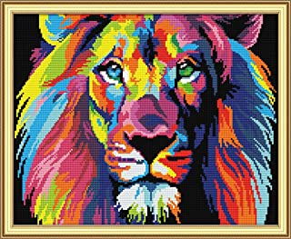 Cross Stitch Kits, Coloured Lion Awesocrafts Easy Patterns Cross Stitching Embroidery Kit Supplies Christmas Gifts, Stamped or Counted (Lion, Counted)