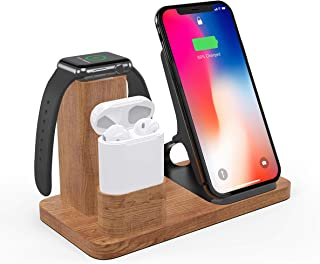 Solid Wood Wireless Charger Stand, LiZHi 3 in 1 Charging Station Docks for AirPods 2/1 Apple Watch Series 5/4/3/2/1 iPhone X/8/8 Plus iPhone Xs/XR/XS MAX/11 Pro
