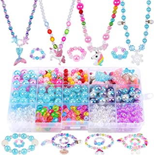 G.C Bead Jewelry Making Kit with Cute Mermaid Unicorn Princess Rainbow Heart Crown Butterfly Starfish Charms DIY Beading N...