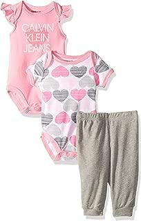Calvin Klein Baby Girls 3 Pieces Bodysuit Set Pants