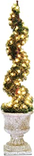 National Tree 48 Inch Upright Juniper Spiral Tree with 100 Clear Lights in Decorative Urn (LCYSP4-302-48)