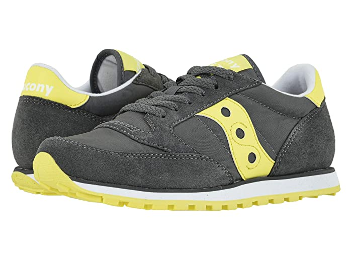 Retro Sneakers, Vintage Tennis Shoes Saucony Originals Jazz Low Pro GreyYellow 2 Womens Classic Shoes $45.00 AT vintagedancer.com