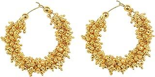 Indian Bollywood chandbali Style Traditional Indian Jewelry Chand bali Stylish Gold Pearl Jhumka Jhumki Earrings Women