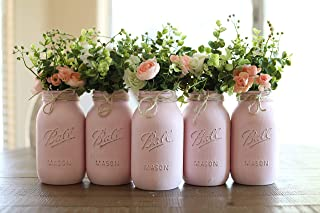 Mason Jar Centerpiece Set, Pint OR Quart Size Mason Jars, Your Choice of Jar Colors, 5 jars, Silk Flowers Optional