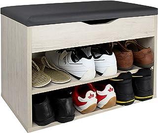 RICOO WM032-EP-A Banco Zapatero 60x42x30cm Armario Interior con Asiento Organizador Zapatos Mueble recibidor Percher...