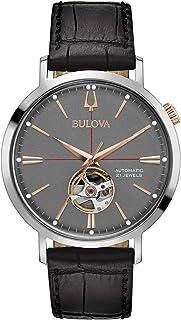 ساعة جلدية بقرص رمادي اوتوماتيكية كلاسيكية بولوفا ايروجيت للرجال 98A187