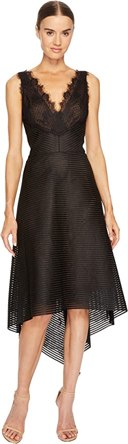 Striped Neoprene V-Neck High-Low Lace Dress