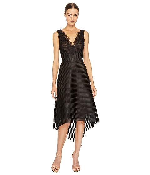 Marchesa Notte Striped Neoprene V-Neck High-Low Lace Dress