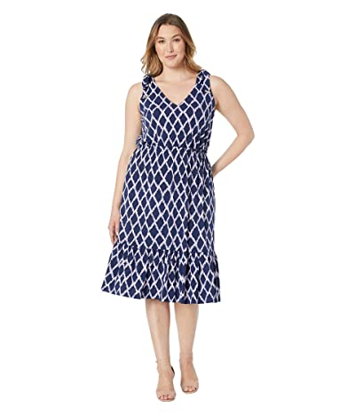 MICHAEL Michael Kors Plus Size Mega Ikat Midi Dress (Dark Lavender) Women