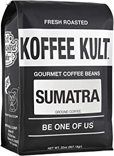 Sumatra Mandheling Ground Coffee - Fresh Roasted Coffee by Koffee Kult (32oz)
