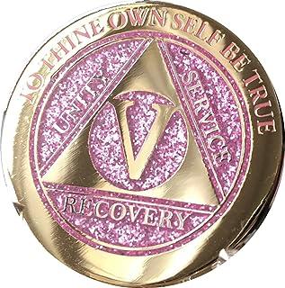 5 Year Elegant Glitter Pink Gold Silver Bi-Plated AA Medallion Chip V