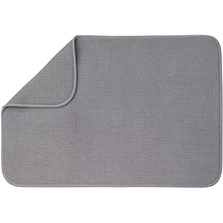 "XXL Dish Mat 24"" x 17"" (Largest MAT) Microfiber Dish Drying Mat, Super Absorbent by Bellemain (Gray)"