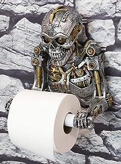 Ebros Gift Grinning Steampunk Rustic Gearwork Cyborg Robotic Skeleton Toilet Paper Holder Dispenser Sculpture Ossuary Maca...