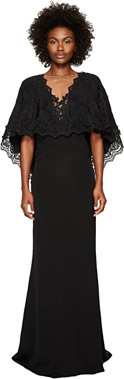 Marchesa Plunging V-Neck Capelet