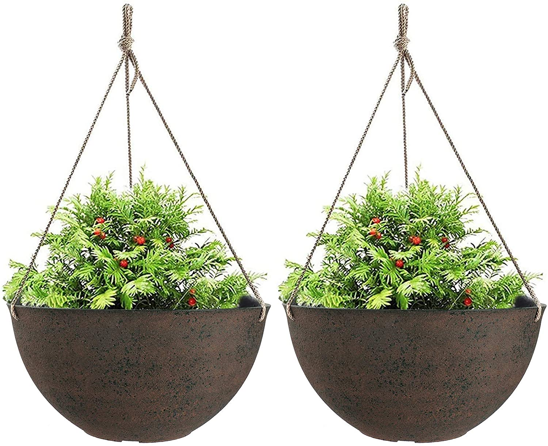 La Jolie Muse Large Hanging Planters, Flower Pots Outdoor Indoor, 13.2 Inch Garden Planters, New Iron Color, Set of 2 : Patio, Lawn & Garden