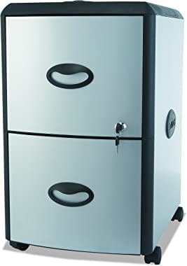Storex Plastic 2-Drawer Mobile File Cabinet with Metal Accents, Roll Top, Gray/Black